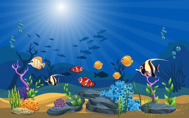 Vector illustratie van de zee. mooie onderwater achtergrond en schijnt