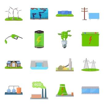 Vector illustratie van ecologie en aardteken. collectie van ecologie en planeet set