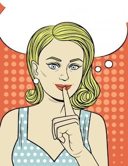 Vector illustratie van een aantrekkelijk meisje in pop-artstijl. een jonge vrouw houdt haar wijsvinger tegen haar mond. mooi retro-stijl meisje wil een geheim bewaren.