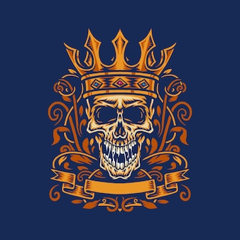 Vector illustratie van een geschreeuwde schedel die de kroon van een koning draagt