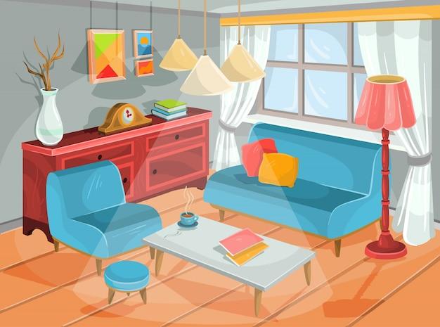 Vector illustratie van een gezellige cartoon interieur van een woonkamer, een woonkamer