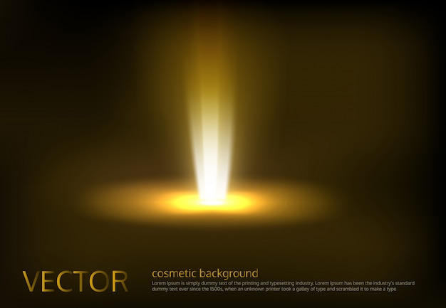Vector illustratie van een gouden lichtstraal, een lichtstraal