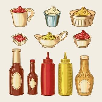 Vector illustratie van een gravure-stijl set van verschillende sauzen in pannen en flessen