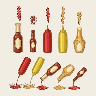 Vector illustratie van een gravure stijl set van verschillende sauzen worden uit flessen gegoten
