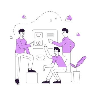 Vector illustratie van een groep hedendaagse mannen die pagina van internetwinkel doorbladeren en aankopen doen