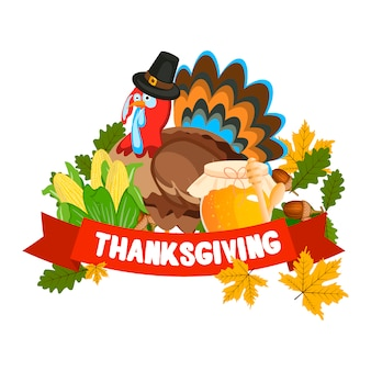 Vector illustratie van een happy thanksgiving celebration design.