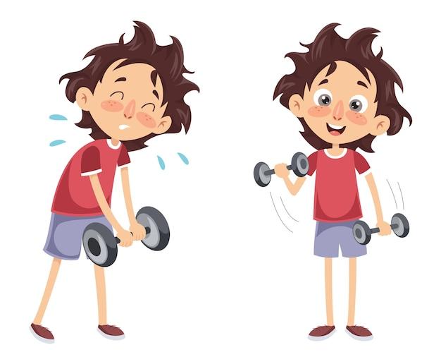 Vector illustratie van een jongen met dumbbell