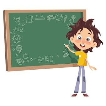 Vector illustratie van een kid schrijven aan boord