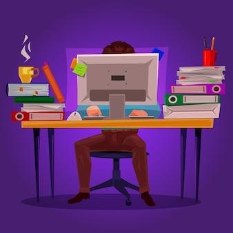 Vector illustratie van een man die aan de computer werkt