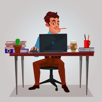 Vector illustratie van een man die aan de laptop werkt