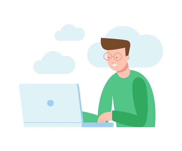 Vector illustratie van een man zit achter de computer en werkt aan een project, zoeken, chating.