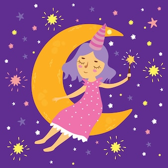 Vector illustratie van een meisje in ruimtezitting op de maan met een toverstokje, goede nacht