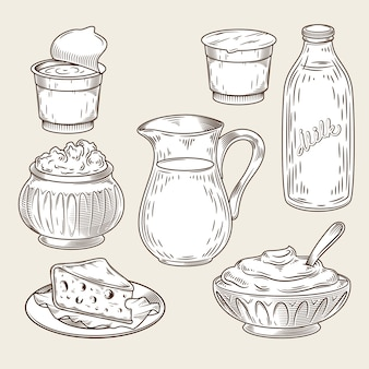 Vector illustratie van een reeks zuivelproducten in de stijl van gravure.