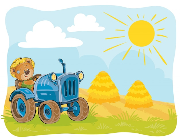 Vector illustratie van een teddybeer tractor bestuurder.