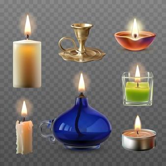 Vector illustratie van een verzameling van verschillende kaarsen in een realistische stijl