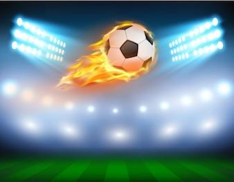 Vector illustratie van een voetbal in een vurige vlam.