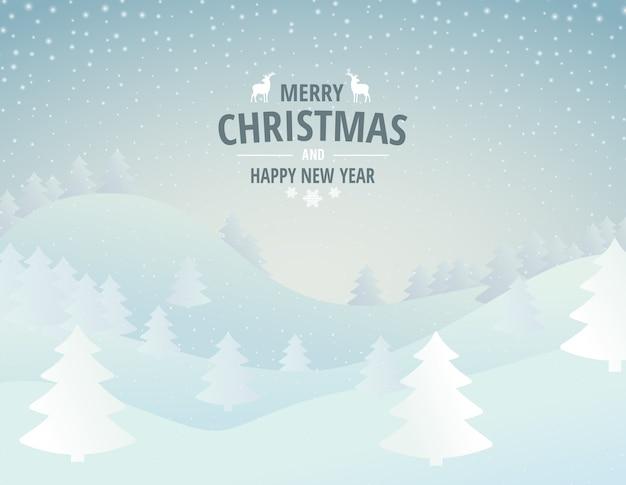 Vector illustratie van een winterlandschap voor de vakantie van kerstmis en nieuwjaar.