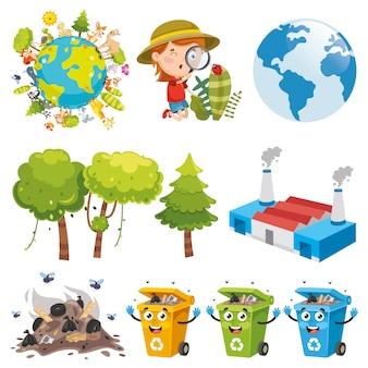 Vector illustratie van elementen van de omgeving