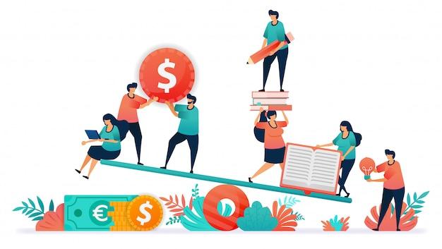 Vector illustratie van evenwicht tussen financiën en onderwijs.