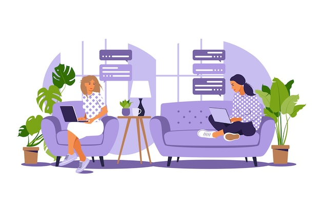 Vector illustratie van freelance werk. meisjes werken thuis achter de computer op de bank. freelance of studeren concept Premium Vector