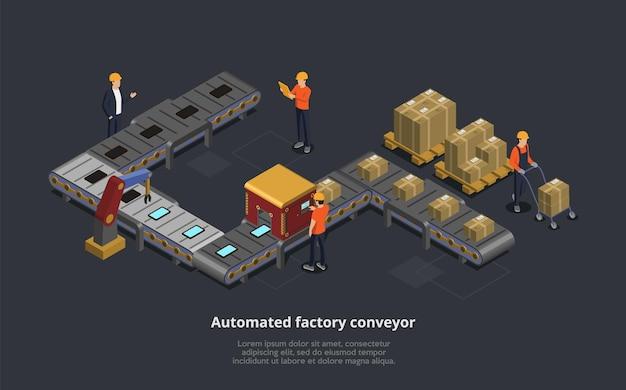 Vector illustratie van geautomatiseerde fabriekstransportband. isometrische 3d-samenstelling