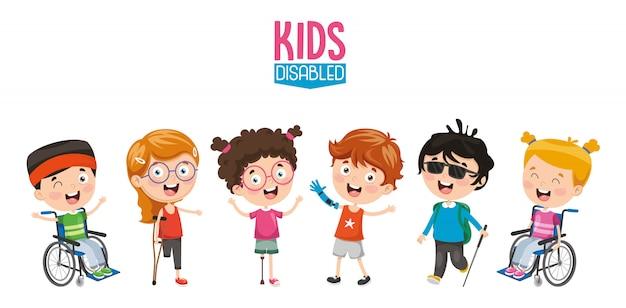 Vector illustratie van gehandicapte kinderen