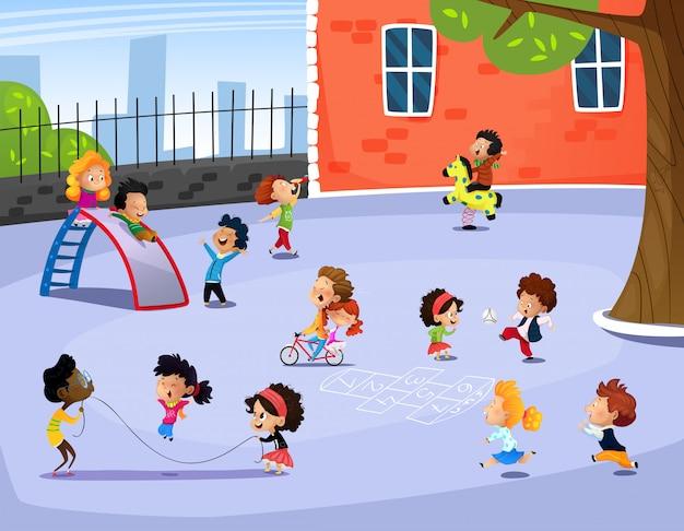 Vector illustratie van gelukkige kinderen die in speelplaats spelen