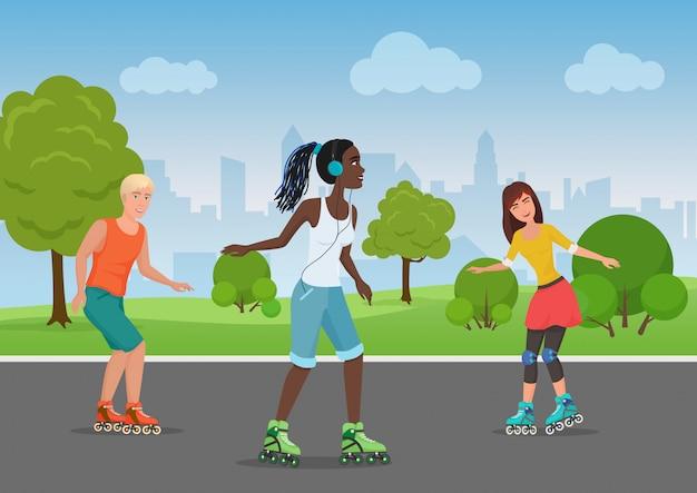 Vector illustratie van gelukkige mensen die rolschaatsen in het park berijden.