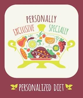 Vector illustratie van gepersonaliseerde dieet.