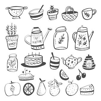 Vector illustratie van gerechten en fruit in cartoon-stijl.