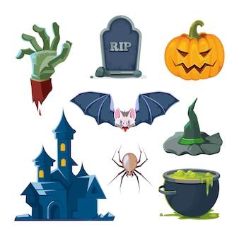 Vector illustratie van halloween-geplaatste pictogrammen