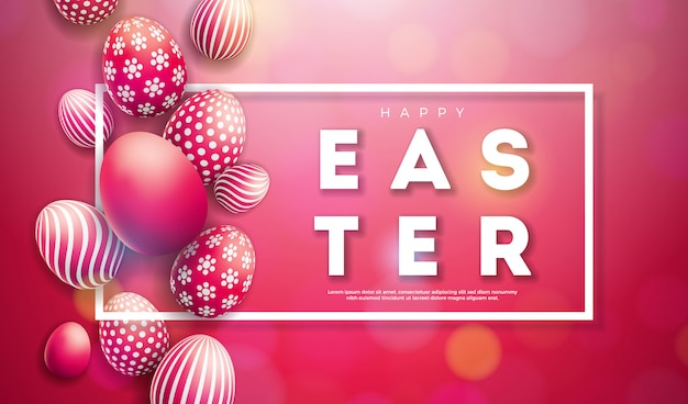 Vector illustratie van happy easter holiday met beschilderde eieren