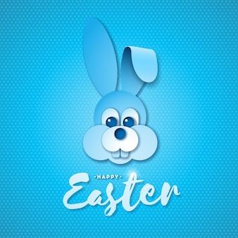 Vector illustratie van happy easter holiday met mooie konijn gezicht