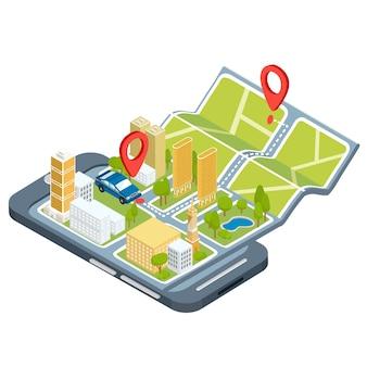 Vector illustratie van het concept van het gebruik van de mobiele applicatie van het wereldwijde positioneringssysteem.