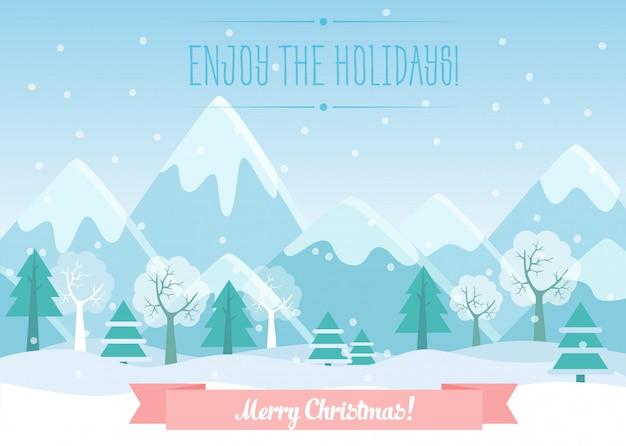 Vector illustratie van het landschap van de winterbergen met pijnboombos en vrolijke kerstmistekst.