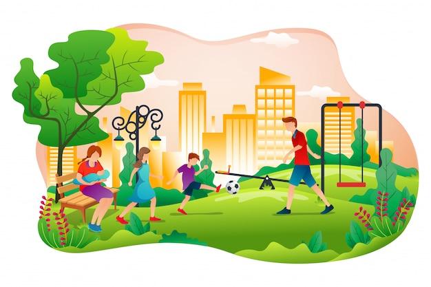 Vector illustratie van het park van een stad in vlakke stijl