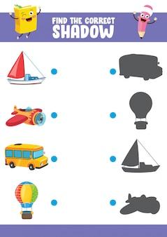 Vector illustratie van het vinden van juiste schaduw oefening