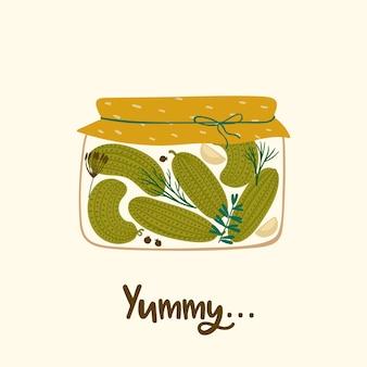 Vector illustratie van ingeblikte komkommers