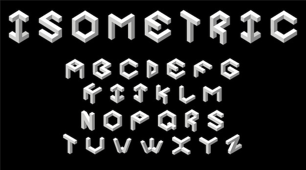 Vector illustratie van isometrische, gestileerde, witte lettertype op zwart in driedimensionale ruimte.