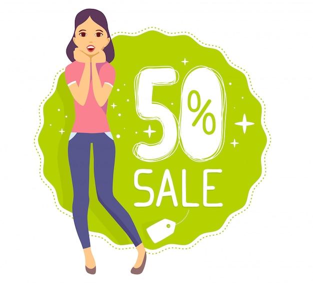 Vector illustratie van jong meisje legt haar handen in de buurt van het gezicht met tekst 50% verkoop op groene achtergrond.