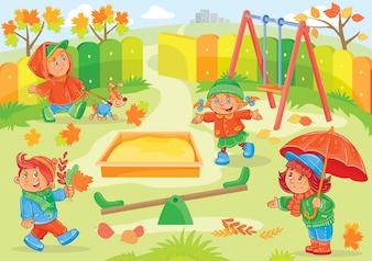 Vector illustratie van jonge kinderen spelen