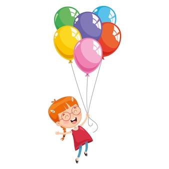 Vector illustratie van kid flying met ballonnen
