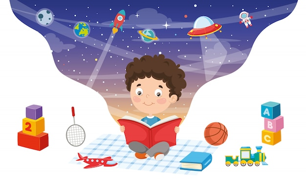 Vector illustratie van kid reading book