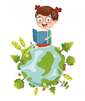 Vector illustratie van kid reading book