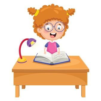 Vector illustratie van kid reading