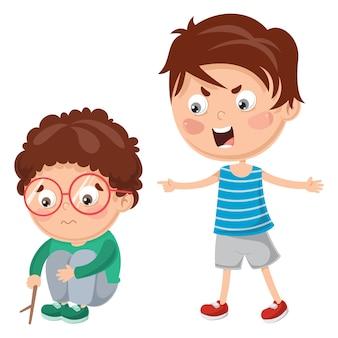 Vector illustratie van kid shouting zijn vriend