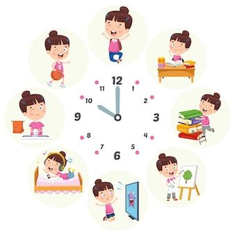 Vector illustratie van kinderen dagelijkse routine-activiteiten