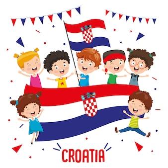 Vector illustratie van kinderen kroatische vlag houden