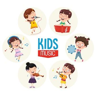 Vector illustratie van kinderen muziek