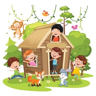 Vector illustratie van kinderen natuur concept
